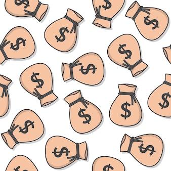 Saco de dinheiro padrão sem emenda em um fundo branco. ilustração em vetor ícone sacos de dinheiro