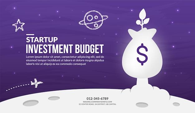 Saco de dinheiro sendo lançado para o fundo do espaço, orçamento de investimento de negócios de inicialização