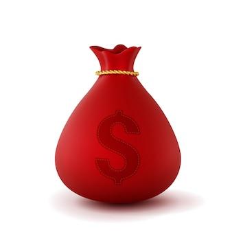 Saco de dinheiro vermelho realista 3d isolado