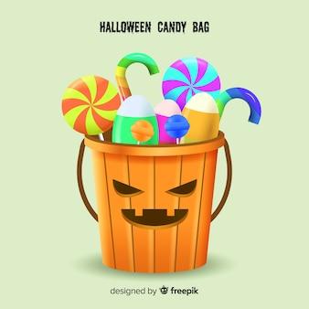 Saco de doces de halloween colorido com design realista