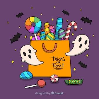 Saco de doces de halloween colorido mão desenhada