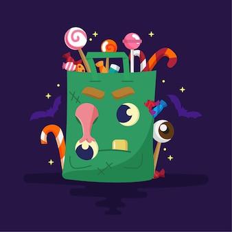 Saco de doces de halloween de design plano