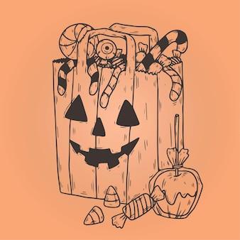 Saco de doces de halloween desenhado à mão