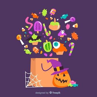 Saco de doces de halloween plana