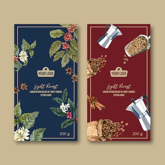 Saco de embalagem de café com ramo de folhas de feijão, vintage, ilustração de aquarela