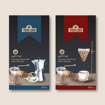 Saco de embalagem de café com xícara de café, ilustração moderna, aquarela
