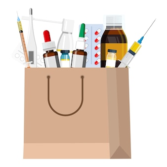Saco de farmácia com remédios para garganta, remédio para resfriado comum, termômetro, pílulas, seringa injetável. ilustração vetorial