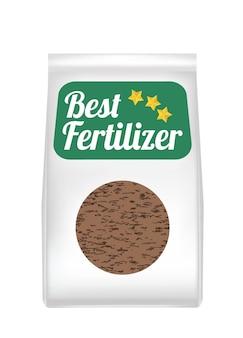Saco de fertilizante em um fundo branco