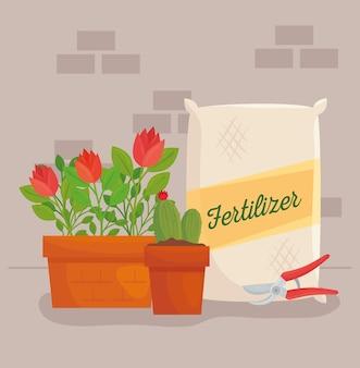 Saco de fertilizante para jardinagem, projeto de flores e plantas, plantio de jardim e natureza
