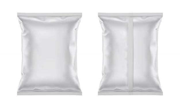 Saco de folha de plástico em branco de vetor para design de embalagem