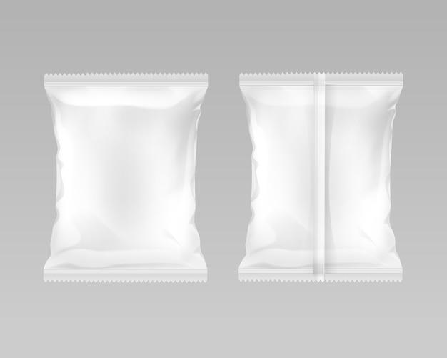Saco de folha de plástico vazio lacrado verticalmente branco para projeto de embalagem com bordas serrilhadas