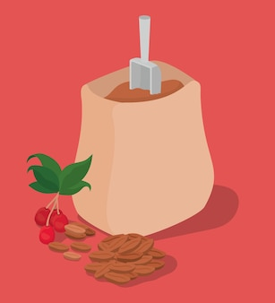 Saco de grãos de café, bagas e folhas de design de bebida cafeína café da manhã e tema de bebidas.