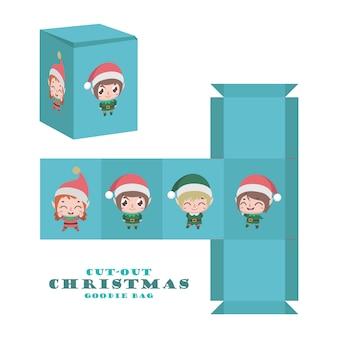 Saco de guloseimas de natal com bonitos elfos alegres