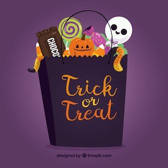 Saco de halloween cheio de doces