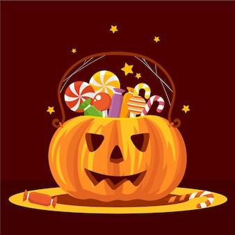 Saco de halloween de abóbora com design plano
