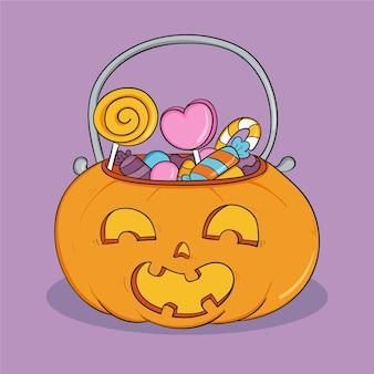 Saco de halloween desenhado à mão