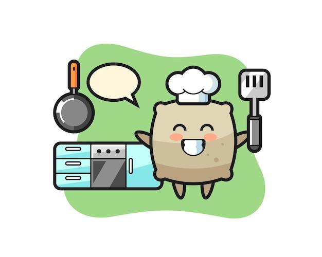 Saco de ilustração de personagem enquanto um chef está cozinhando, design de estilo fofo para camiseta, adesivo, elemento de logotipo