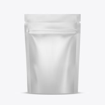 Saco de lanche em bolsa flexível com fecho de correr. pacote . modelo para. ilustração realista isolada no fundo branco