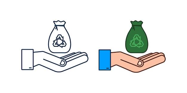 Saco de lixo em ícone de mãos. saco do lixo. ilustração em vetor das ações.