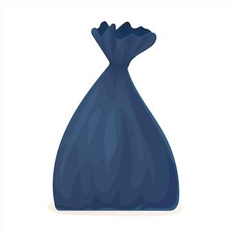 Saco de lixo preto de desenho animado lixo de poluição de plástico ambiental com reciclagem de ecologia de nó