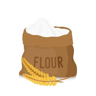 Saco de lona com farinha branca