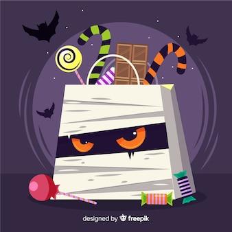 Saco de múmia com raiva plana de halloween