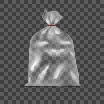 Saco de pacote de polietileno transparente em branco do modelo no fundo realista vazio. ilustração