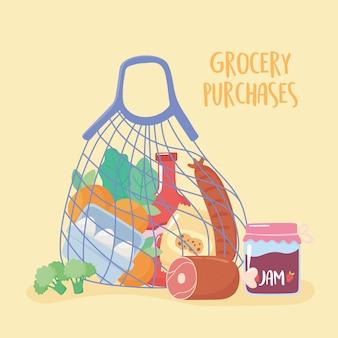 Saco de pano cheio de comida, compras de mercearia
