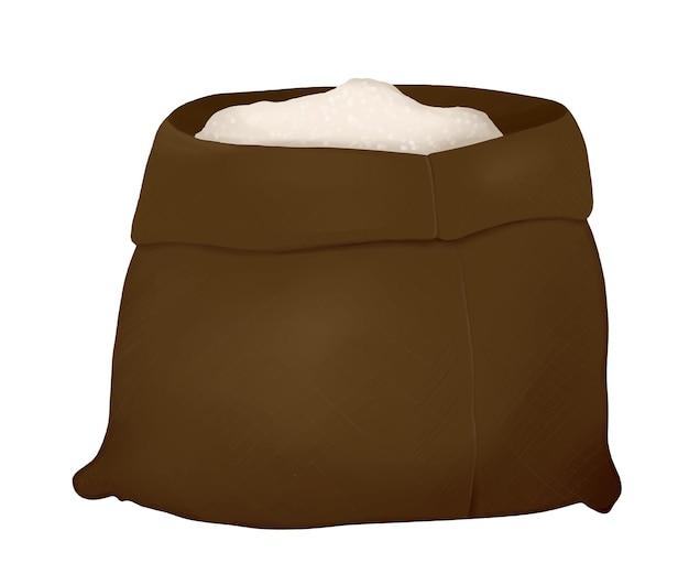 Saco de pano marrom com farinha