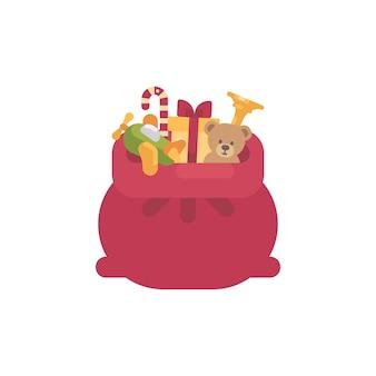 Saco de papai noel com presentes e brinquedos ícone plana. grande saco vermelho com ursinho de pelúcia, avião de brinquedo