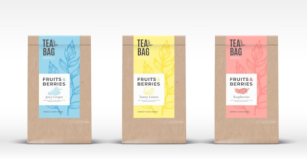 Saco de papel artesanal com conjunto de etiquetas de chá de frutas e bagas.