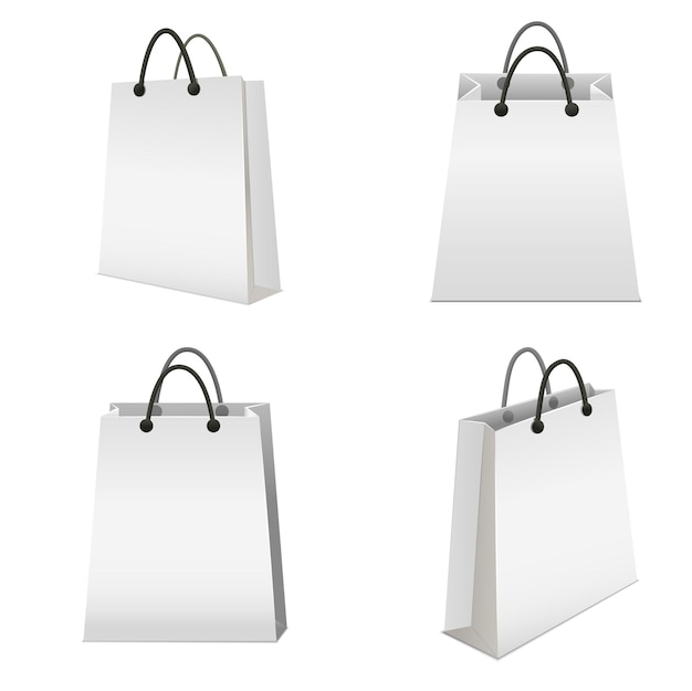 Saco de papel branco em branco de modelo realista definido para varejo vazio Vetor Premium