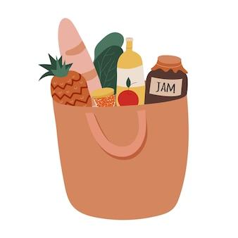 Saco de papel com comida para férias com caviar e abacaxi. ilustração em vetor plana
