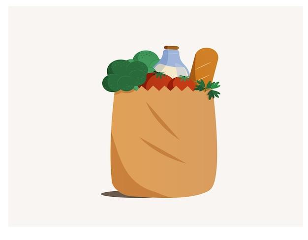 Saco de papel com comida saudável