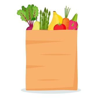 Saco de papel com frutas e vegetais, ilustração vetorial