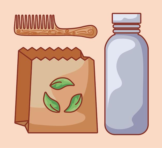Saco de papel com garrafa ecológica e pente de cabelo de madeira