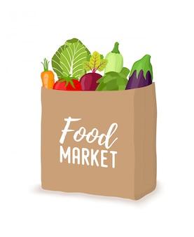 Saco de papel com legumes, conceito de supermercado