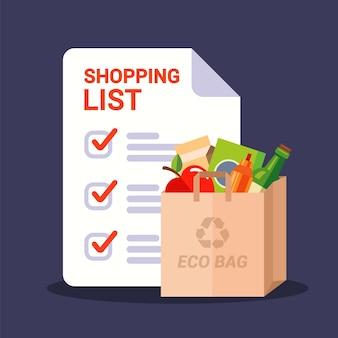 Saco de papel com mantimentos e lista de compras