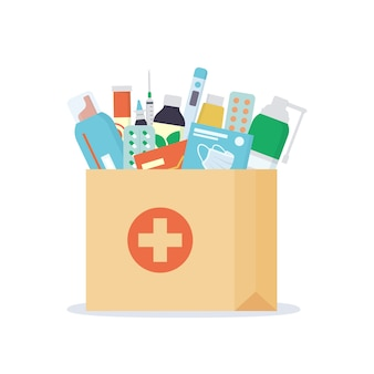 Saco de papel com medicamentos, drogas, comprimidos e frascos dentro. serviço de farmácia para entrega ao domicílio.