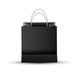 Saco de papel comercial vazio em branco, cor preta