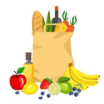 Saco de papel de alimentos frescos. produtos agrícolas orgânicos.