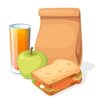 Saco de papel de almoço com ilustração de suco