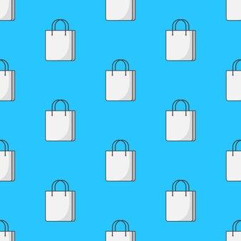 Saco de papel de compra padrão sem emenda em um fundo azul. ilustração em vetor de tema de compras