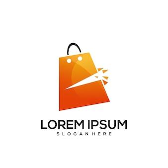Saco de papel de compras laranja gradiente colorido