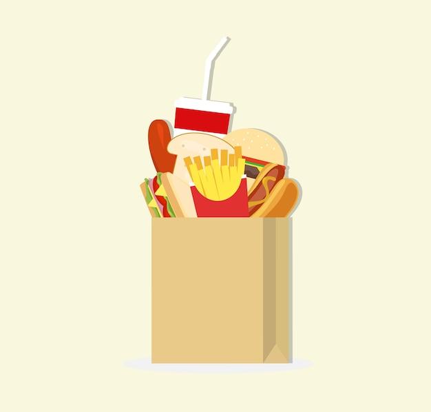 Saco de papel e fast food