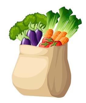 Saco de papel ecológico. saco de compras reciclado com vegetais. embalagem reciclada com alimentos orgânicos frescos. vegetais saudáveis cultivados localmente. ilustração em fundo branco.