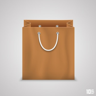 Saco de papel para compras de arte. ilustração vetorial