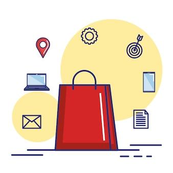 Saco de papel presente compras conceito de internet on-line ilustração vetorial