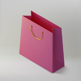 Saco de papel rosa realista shoping. maquete isométrica pacote para compras. handbag 3d