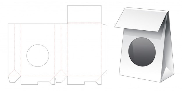 Saco de papelão com modelo de janela cortada em círculo